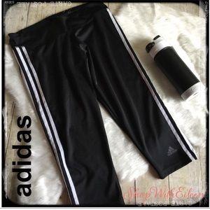 Adidas 3 Stripe Climate Black Capri Leggings